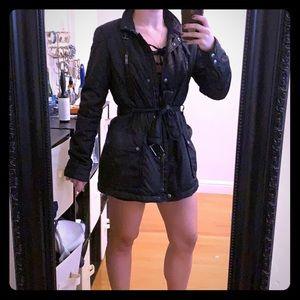 Black wind-breaker, lined and belted biker jacket
